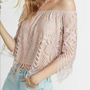 Tops - Express All-over lace off the shoulder shirt